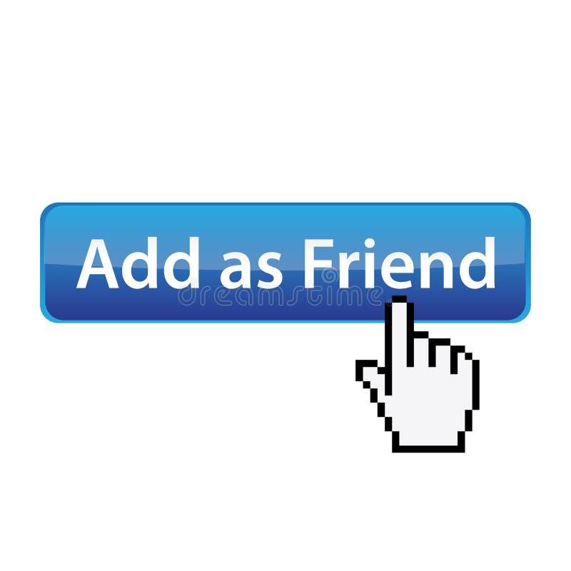Adicione como o amigo - tecla social do local ilustração stock
