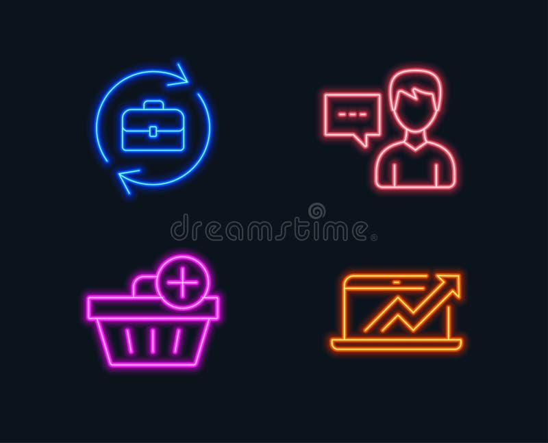 Adicione a compra, a conversa da pessoa e os ícones dos recursos humanos Sinal do diagrama das vendas ilustração stock