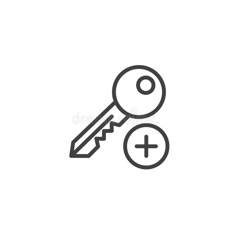 Adicione a linha chave ícone ilustração royalty free