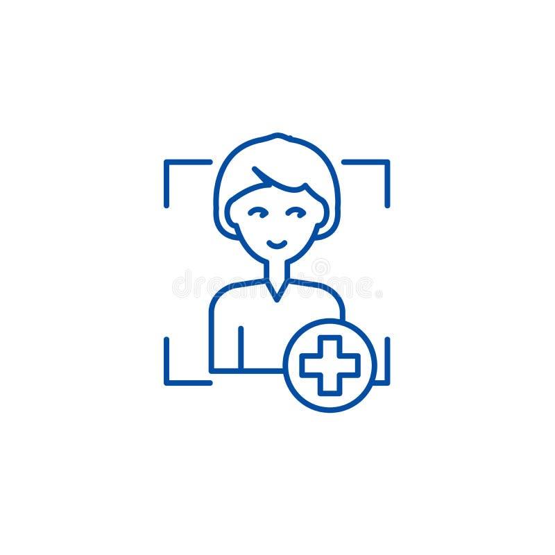 Adicione a linha de usuário conceito do ícone Adicione o símbolo liso do vetor do usuário, sinal, ilustração do esboço ilustração do vetor
