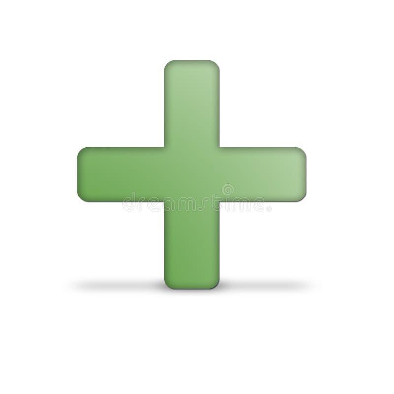 Adicione o ícone no verde fotos de stock
