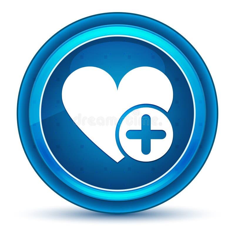 Adicione o botão redondo azul do globo ocular favorito do ícone do coração ilustração stock