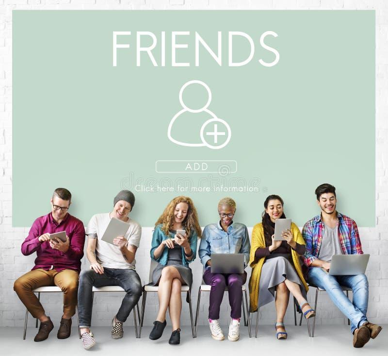 Adicione o conceito social do gráfico dos meios dos amigos fotos de stock royalty free