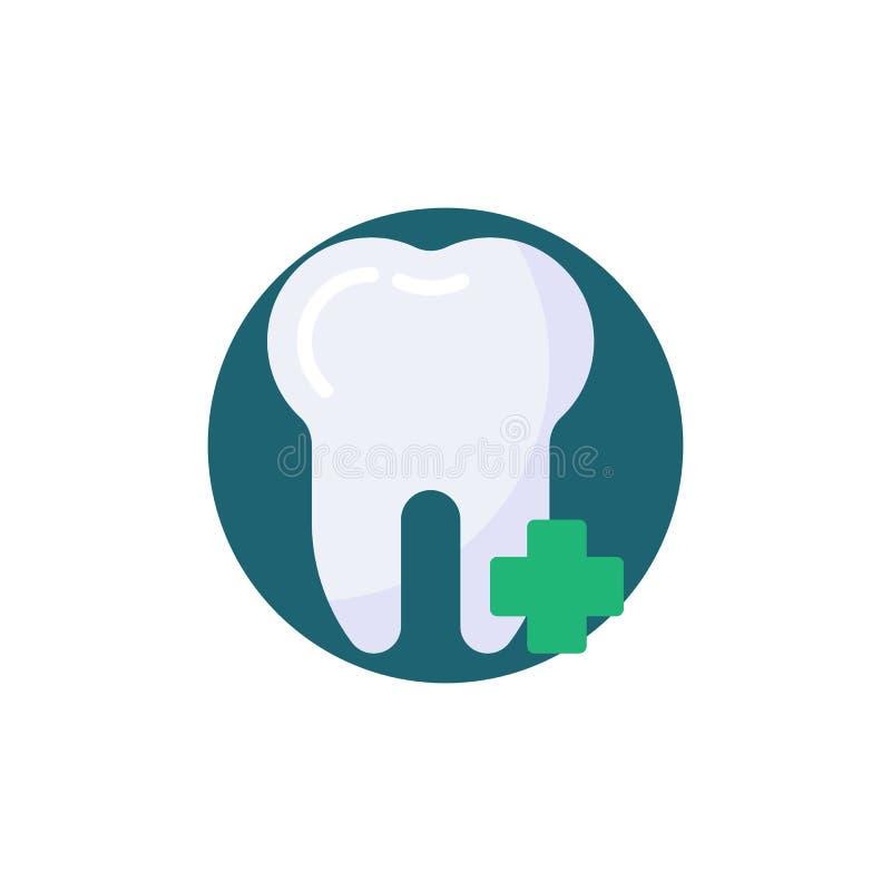 Adicione o dente mais o ícone liso ilustração do vetor