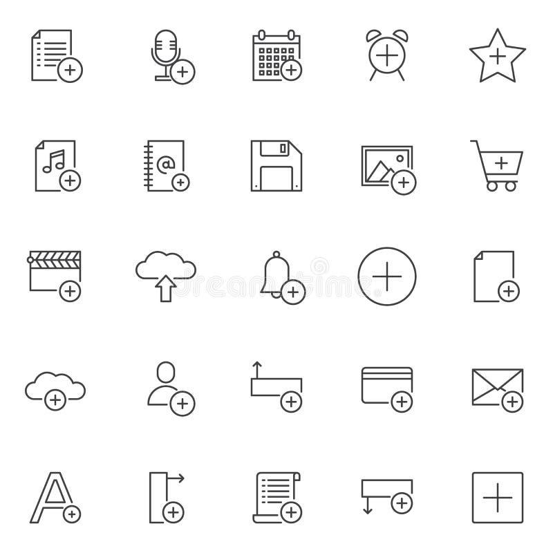 Adicione os ícones do esboço dos objetos ajustados ilustração stock