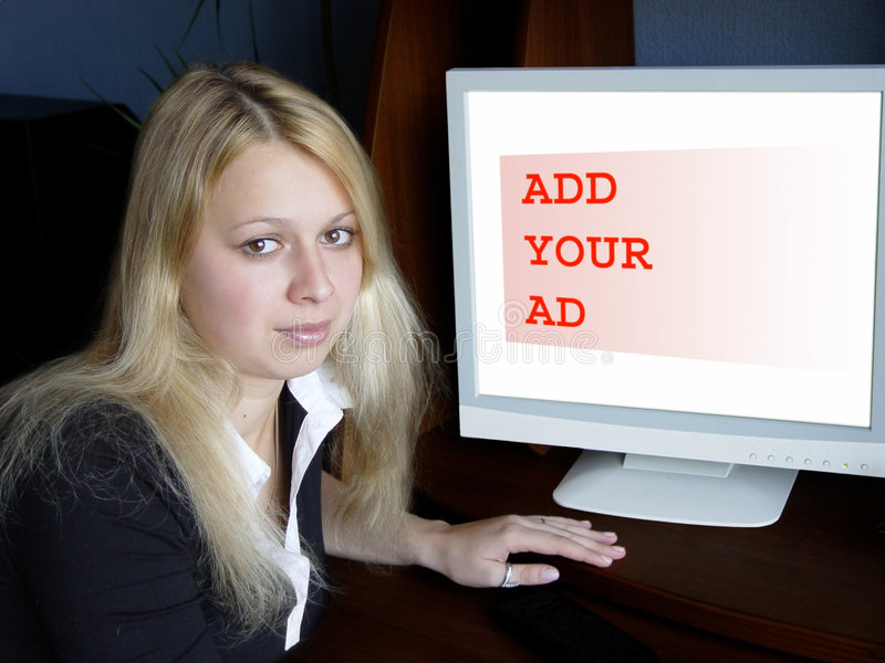 Download Adicione seu anúncio foto de stock. Imagem de branco, monitor - 62700