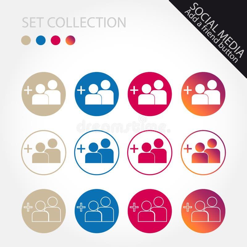 Adicione uma coleção do ícone do amigo - ilustração do vetor - isolada no fundo branco ilustração do vetor