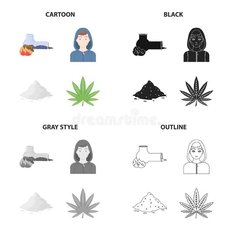 Adicto al tubo que fuma, cocaína, la cara de un drogadicto, una hoja del cáñamo Las drogas fijaron iconos de la colección en negr libre illustration