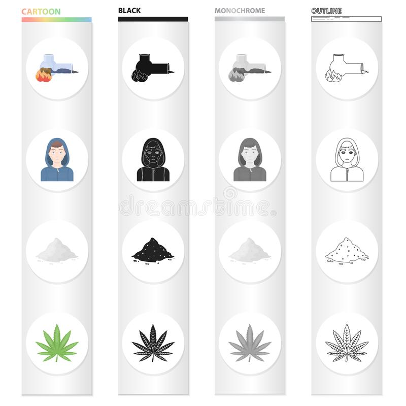 Adicto al tubo que fuma, cocaína, la cara de un drogadicto, una hoja del cáñamo Las drogas fijaron iconos de la colección en negr ilustración del vector