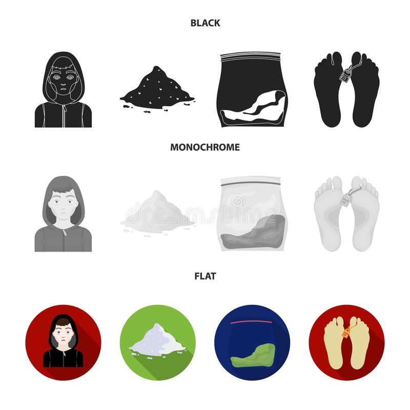 Adicto, cocaína, marijuana, cadáver Iconos determinados de la colección de la droga en la acción negra, plana, monocromática del  ilustración del vector