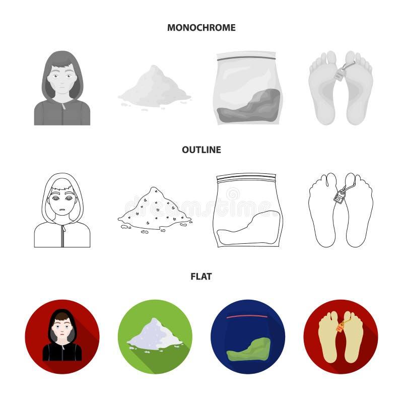 Adicto, cocaína, marijuana, cadáver Iconos determinados de la colección de la droga en el plano, esquema, acción monocromática de ilustración del vector
