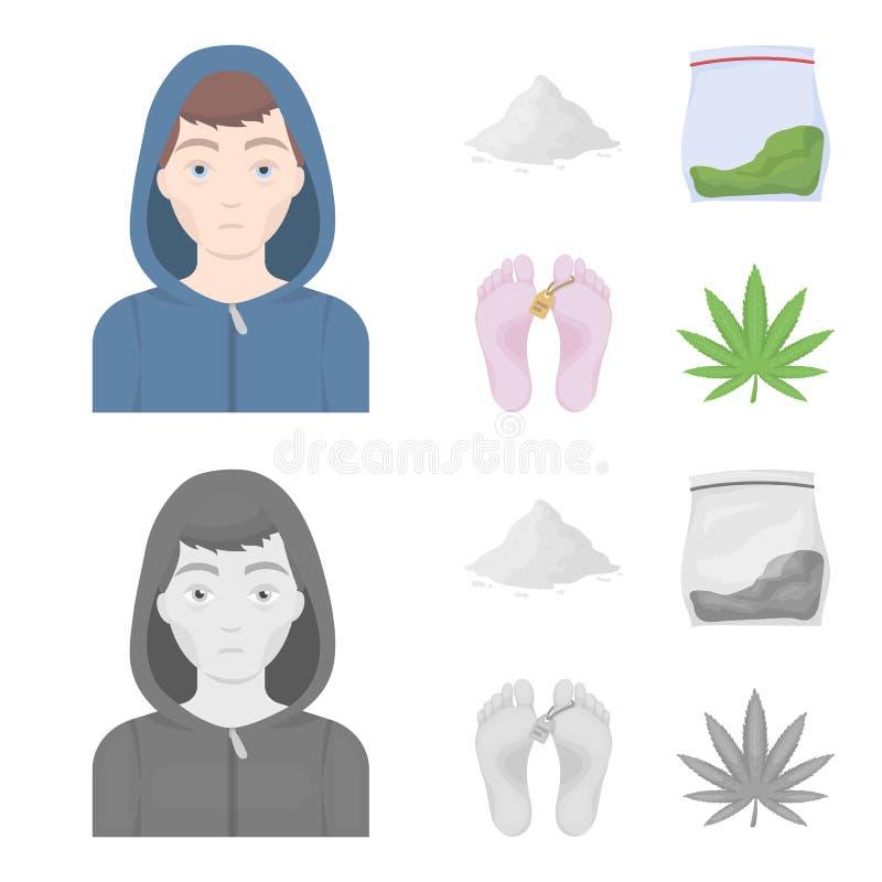 Adicto, cocaína, marijuana, cadáver Iconos determinados de la colección de la droga en la historieta, acción monocromática del sí ilustración del vector