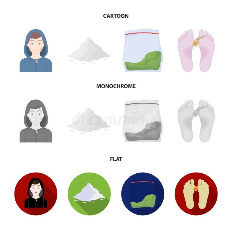 Adicto, cocaína, marijuana, cadáver Iconos determinados de la colección de la droga en la historieta, acción plana, monocromática ilustración del vector