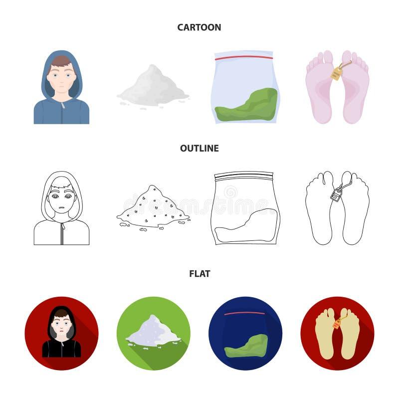 Adicto, cocaína, marijuana, cadáver Iconos determinados de la colección de la droga en la historieta, esquema, acción plana del s stock de ilustración