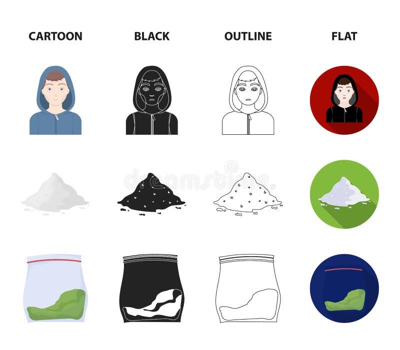 Adicto, cocaína, marijuana, cadáver Iconos determinados de la colección de la droga en la historieta, negro, esquema, acción plan libre illustration