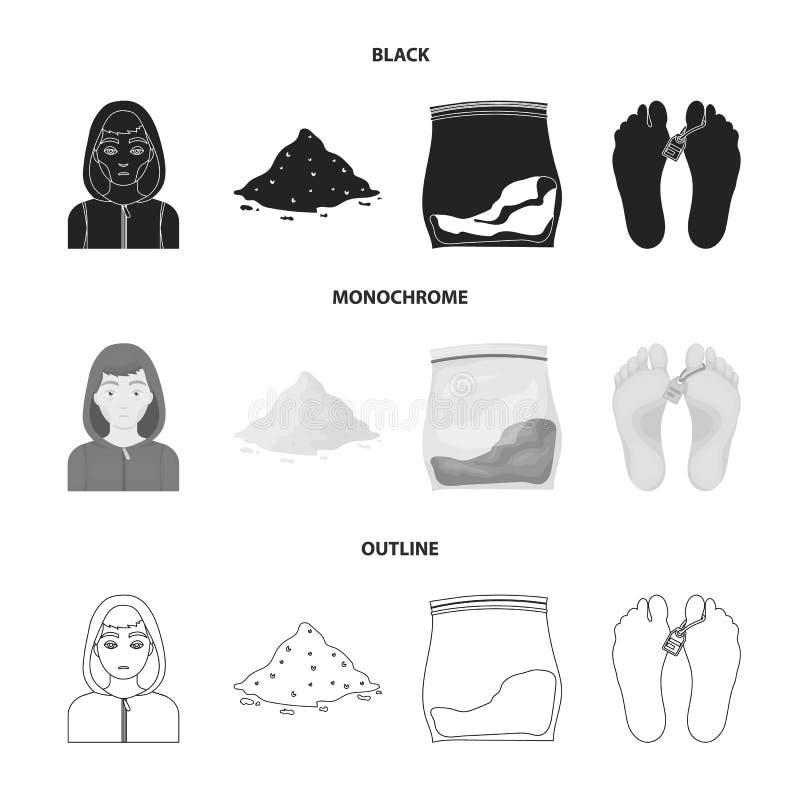Adicto, cocaína, marijuana, cadáver Iconos determinados de la colección de la droga en negro, monocromático, acción del símbolo d ilustración del vector