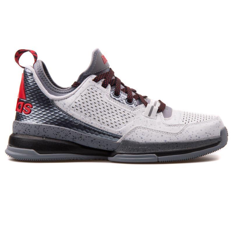 Adidas D scarpa da tennis bianca e grigia di Lillard fotografia stock libera da diritti