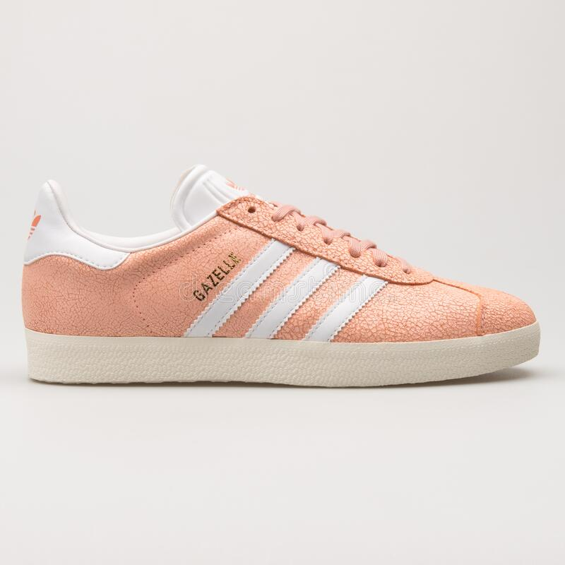 Adidas Gazelle Coral And White Sneaker Editorial Stock Image ...