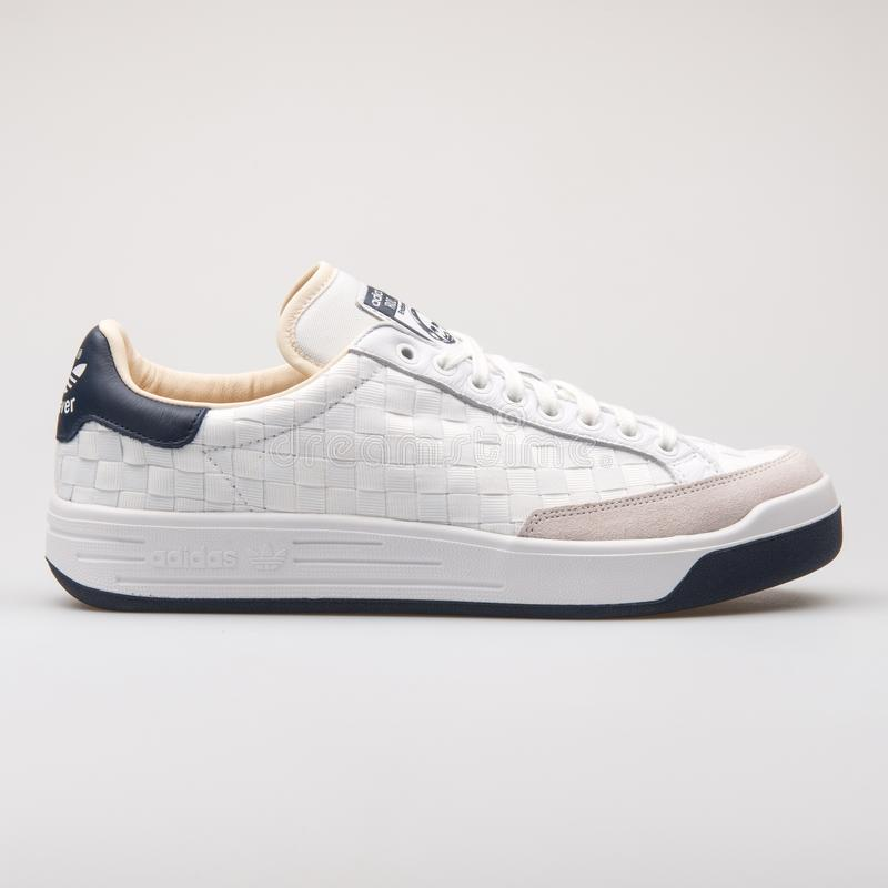 Adidas Rod Laver Super white and navy blue sneaker stock photography