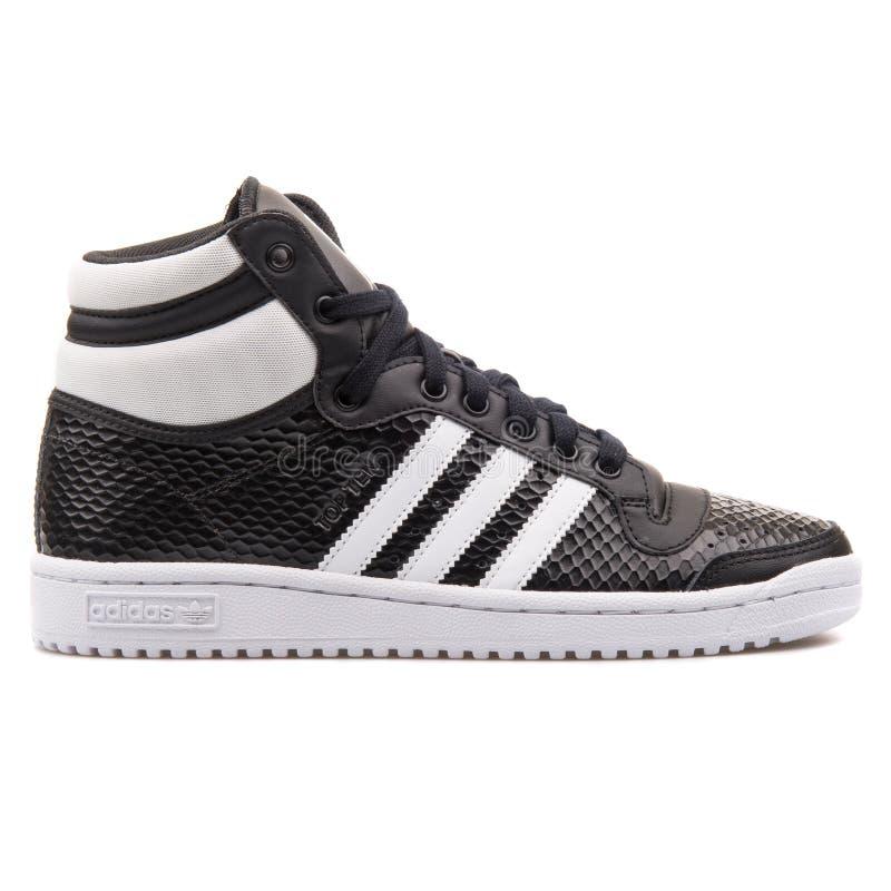 Adidas-Top Ten-hoher Schwarzweiss-Turnschuh stockbilder