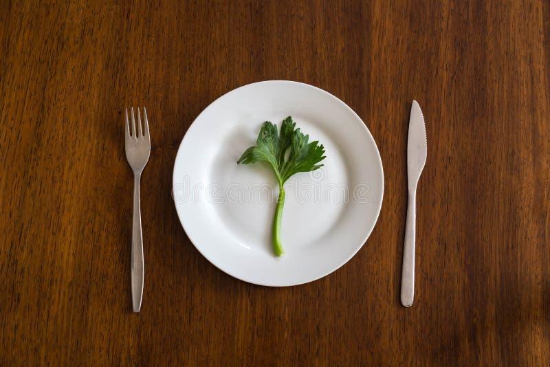 Adiete el concepto una verdura verde en una placa blanca vacía con apio de las manos de la mujer en la tabla de madera sana fotos de archivo