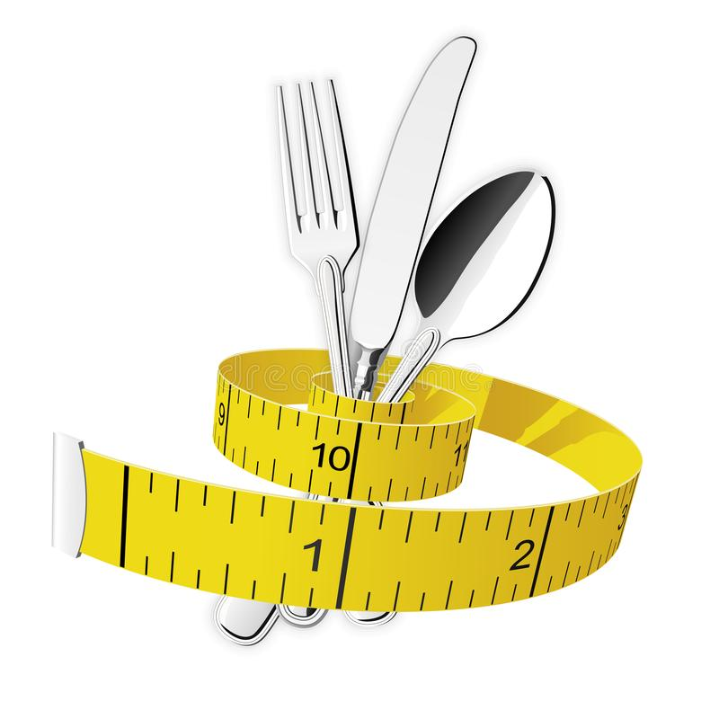 Adiete y pierda el peso - la cinta m?trica aprieta la bifurcaci?n, la cuchara y el cuchillo stock de ilustración