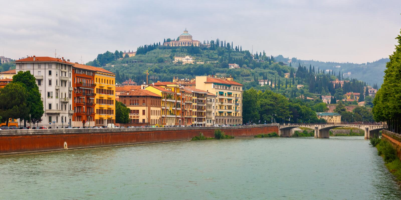 Adige River Embankment in Verona, Italy royalty free stock photography