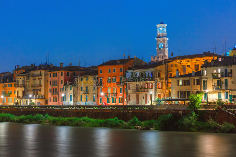Adige River Embankment in Verona, Italy stock image