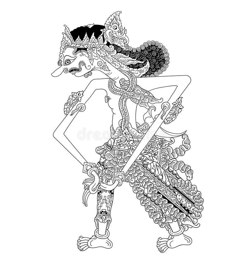 Adimanggala-Charakter des traditionellen Puppenspiels vektor abbildung