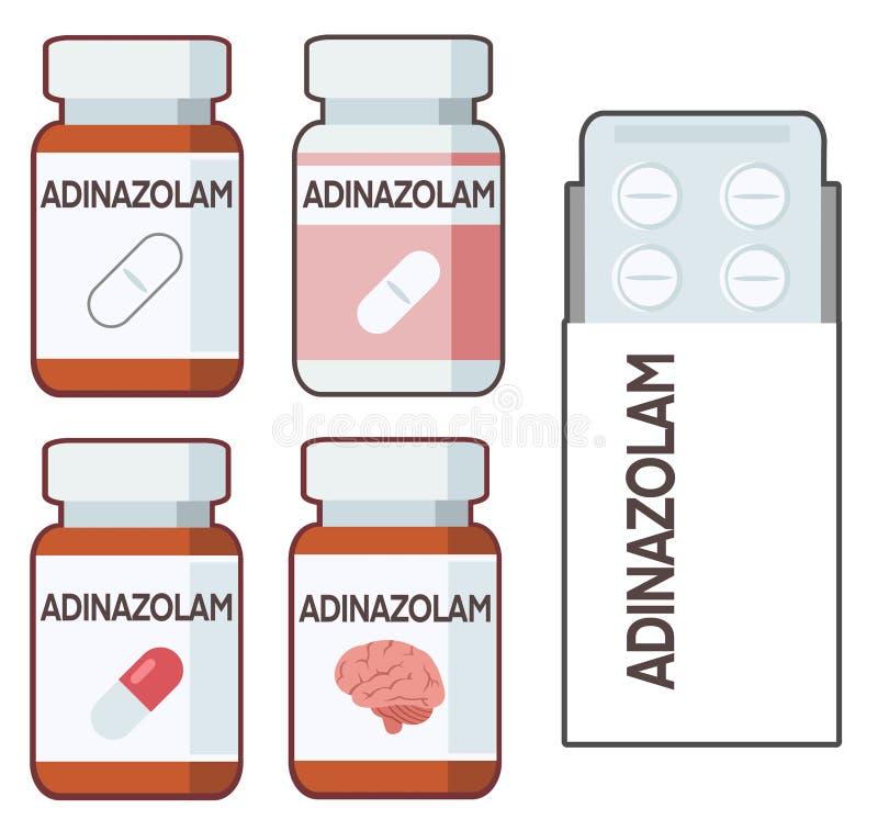 Adinazolam is an anxiolytic belonging to the benzodiazepine family. Illustration stock illustration