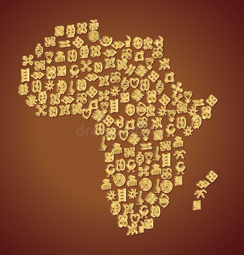 Adinkra symbolöversikt av Afrika royaltyfri illustrationer