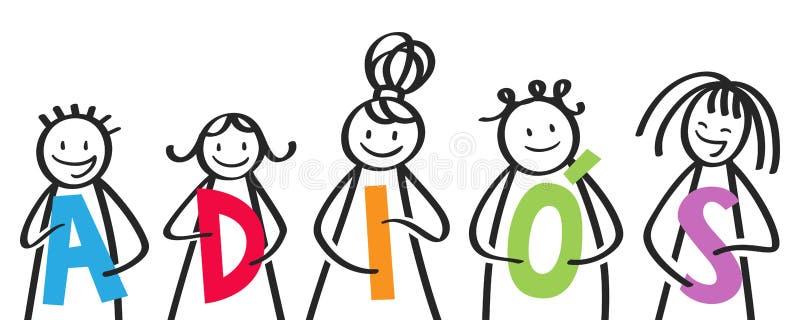 ADIOS, grupo sonriente de figuras del palillo que llevan a cabo las letras coloridas, niños españoles que dicen adiós libre illustration