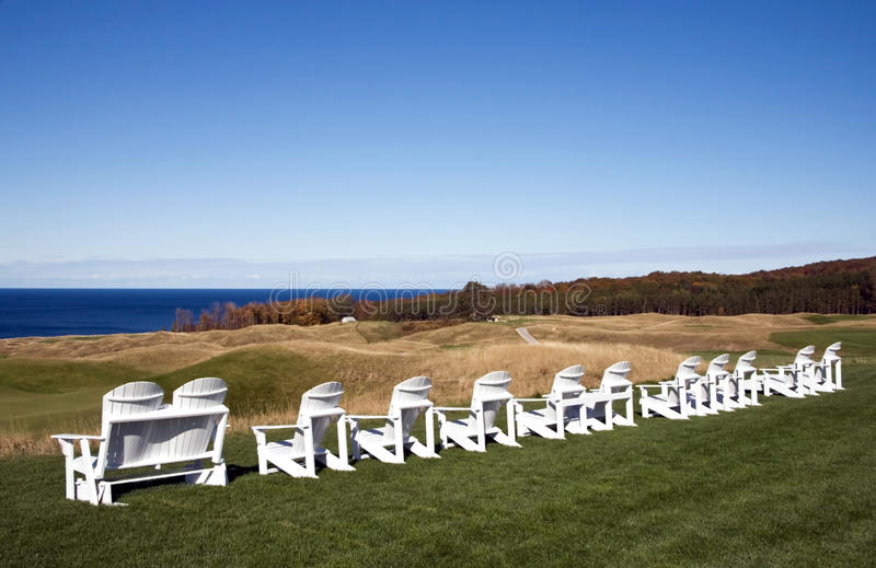 Download Adirondack Chairs On Michigan Golf Course. Stock Image - Image of adirondack, relaxing: 12392997