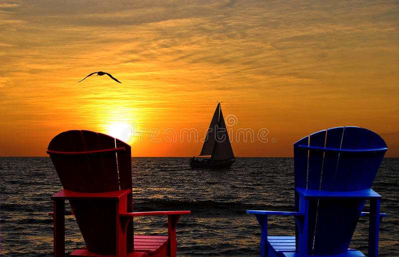 Download Adirondack Chairs Silhouette Overlooking Lake Michigan Stock Image    Image: 73463711