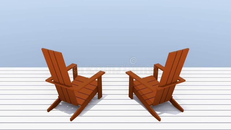 Adirondack czerwoni Krzesła royalty ilustracja