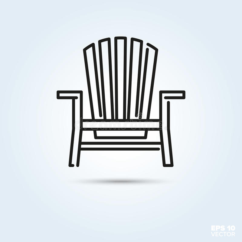 Adirondack deck chair icon stock vector. Illustration of wooden ...