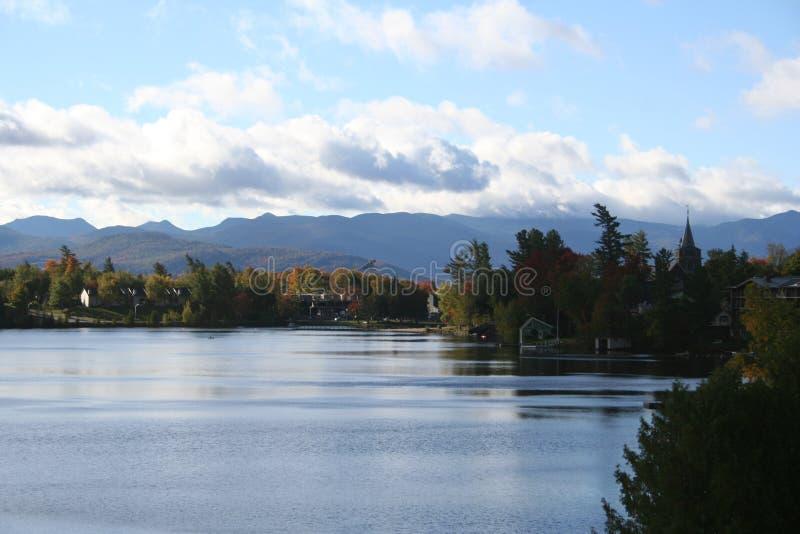 Adirondacks, Mirror Lake, Lake Placid NY. Mountain view over Mirror Lake, Lake Placid, Adirondacks NY stock photography