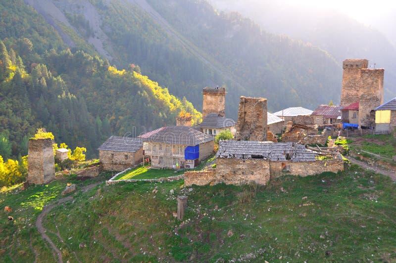Adishi Dorf, Svaneti Georgia lizenzfreies stockbild