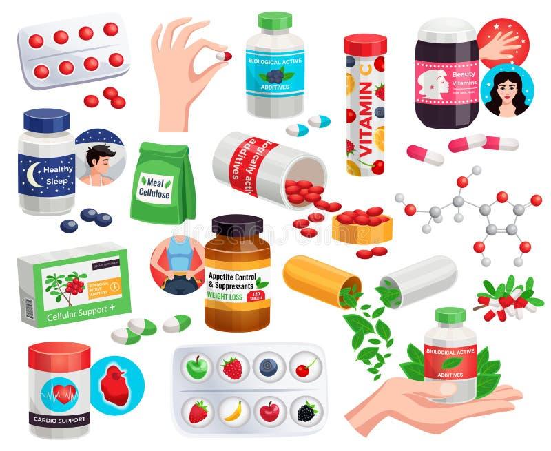Aditivos ativos biológicos ajustados ilustração royalty free