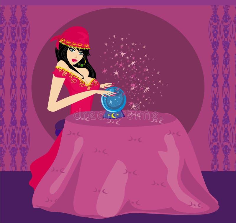 Adivinho com Crystal Ball ilustração stock
