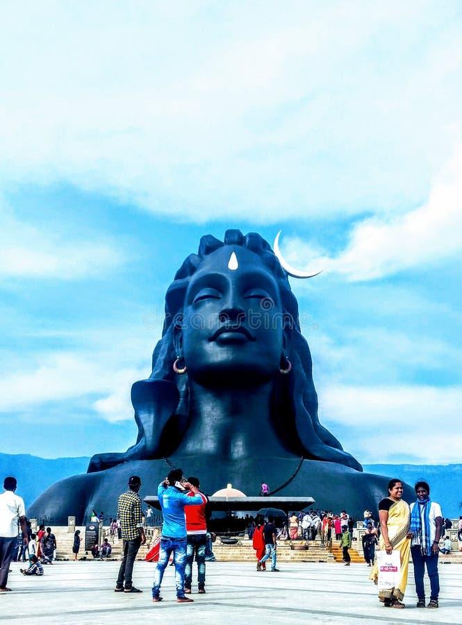 Adiyogi shiva雕象在哥印拜陀泰米尔・那杜印度 库存图片