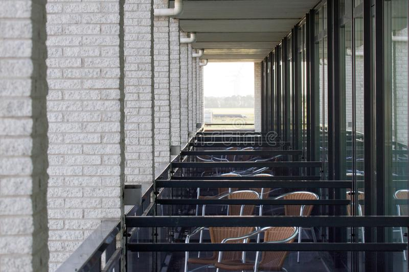 Adjacent balconies in a building in the Netherlands. No people royalty free stock photography