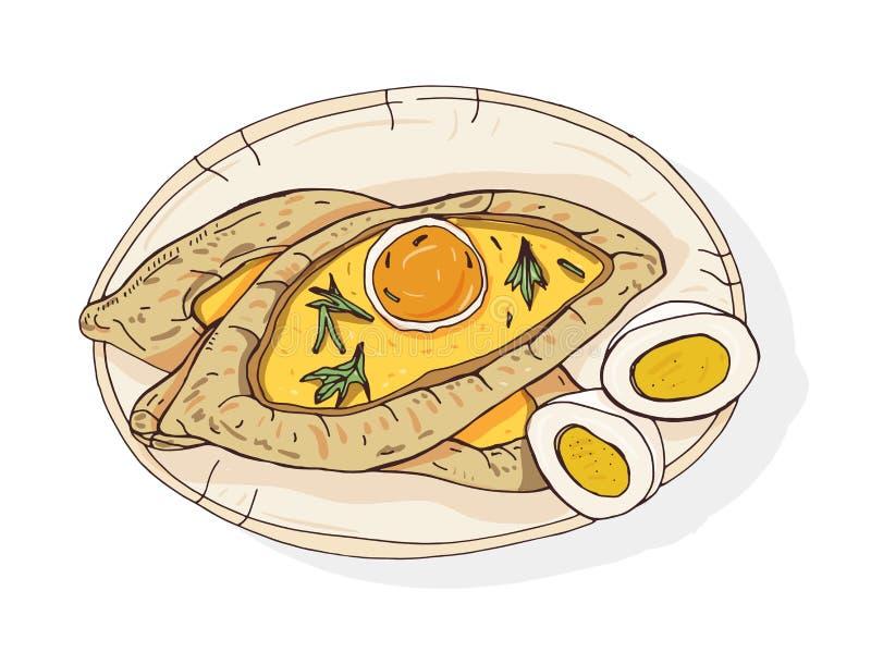 Adjaran开放khachapuri 传统英王乔治一世至三世时期小船型饼用乳酪和冠上用未加工的鸡蛋和黄油 可口 皇族释放例证