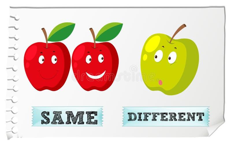 Adjetivos con lo mismo y diferente opuestos stock de ilustración