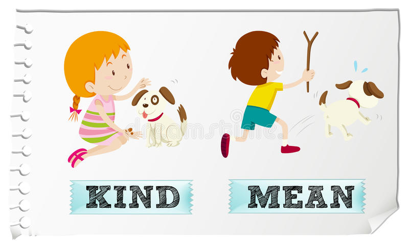 Adjetivos opostos amáveis e médios ilustração do vetor