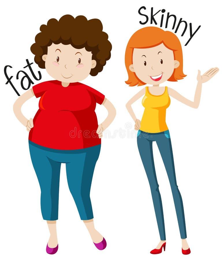Adjetivos opostos com gordo e o magro ilustração stock