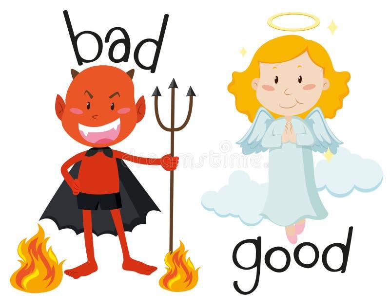 Adjetivos opuestos buenos y malos ilustración del vector