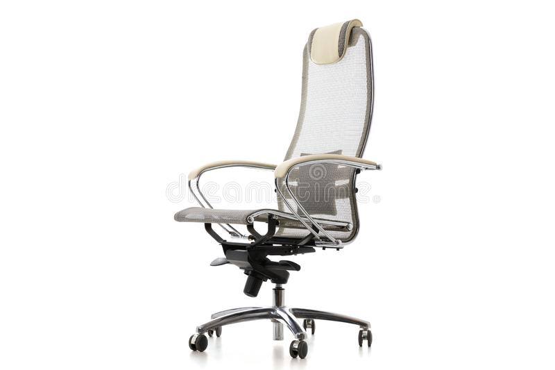 Adjustable gray steel chair for office or home usage. Isolated on white modern furniture object stock photos