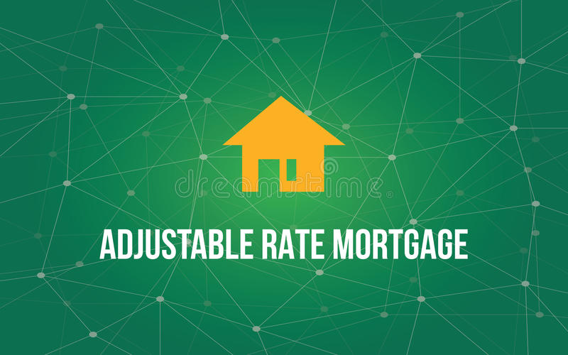 Adjustable rate mortgage white text illustration with yellow house silhouette and green constellation as background royalty free illustration