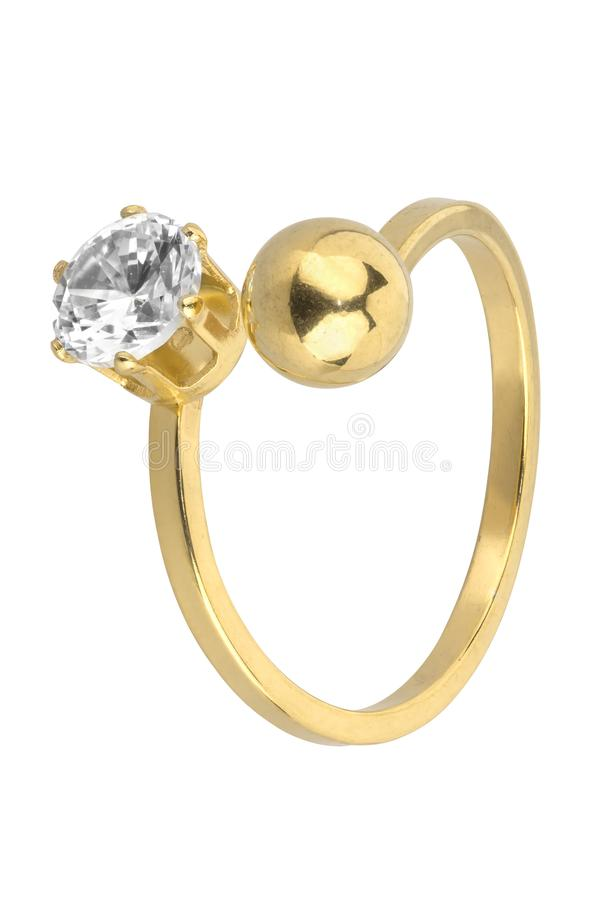 Adjustable woman gold ring with one diamond and one golden ball, isolated on white background, clipping path included.  stock photography